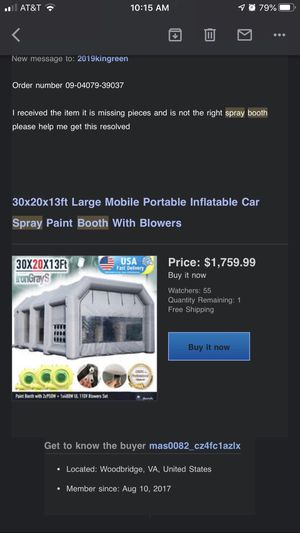 Inflatable spray booth/work room for Sale in Woodbridge, VA