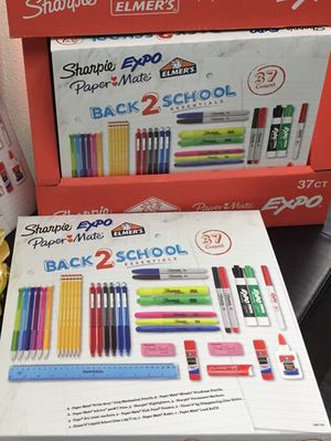 Brand new 37pcs Back 2 School sharpie expo paper mate Elmer's glue pencils highlighters dry erase markers ruler school suppy kit for Sale in Los Angeles, CA