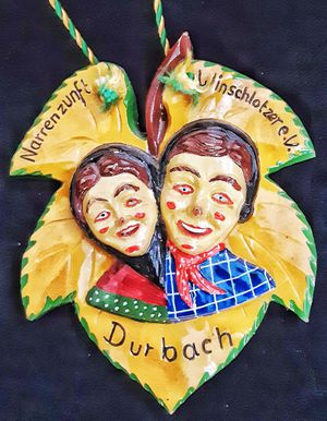 Durbach narrenzunft german wood carving schnitzelbank plaque on string carnival / fasching item for Sale in Saginaw, MI