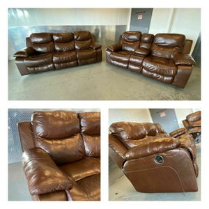 Genuine leather Recliner Set In Excellent Conditions, Delivery Available for Sale in Norfolk, VA