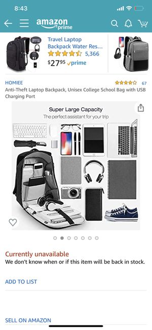 Laptop backpack with usb charging port for Sale in Tampa, FL