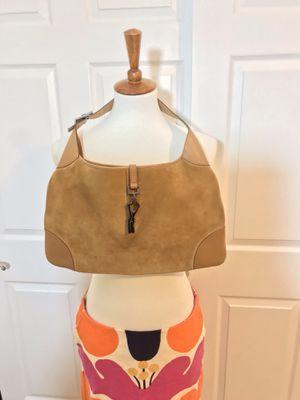 VINTAGE GUCCI BEIGE SUEDE & LEATHER JACKE BAG for Sale in Arlington, VA