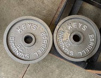 Keys Fitness OLYMPIC WEIGHTS Plates 25s 25 Lbs Pair for Sale in Everett,  WA