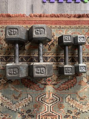 Dumbbells for sale! 2 x 45lbs, 1 x 15lbs, 1 x 10lbs for Sale in Los Angeles, CA