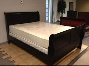 Brand New Queen Size Black Wood Sleigh Bed +Mattress Set for Sale in Silver Spring, MD