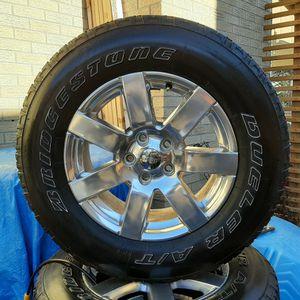 Set of 5, 2018 Jeep Wrangler Sahara Wheels and Bridgestone Dueller AT 255/70 R18 Tires 400 for Sale in Denver, CO