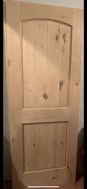 Set of 2 solid wood doors wooden doors front doors construction home decor remodeling replacement doors kitchen house unfinished for Sale in Mission Viejo, CA