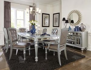 🍻39 DOWN🍻Brand New 7-Piece Silver Mirrored Extendable Dining Set.[ Table & 4 Side Chairs & 2 Arm Chairs ] for Sale in Houston, TX