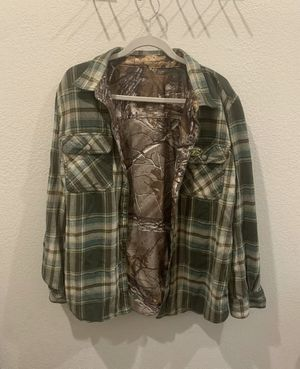 Duck Commander Reversible Plaid/Camouflage Flannel Button Down Shirt, Large for Sale in Lake Charles, LA