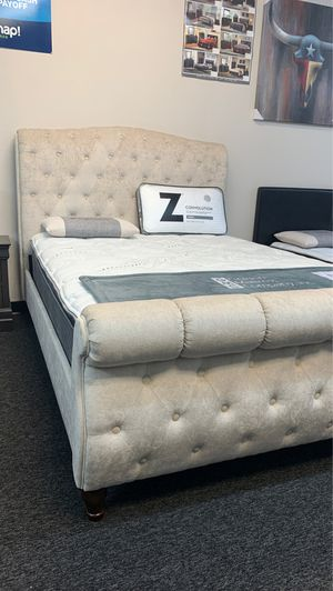 (JUST $54 DOWN) Brand New Tufted Platform Queen Bed with Soft Pillow top mattress with 10 year warranty (Financing and Delivery available) for Sale in Carrollton, TX