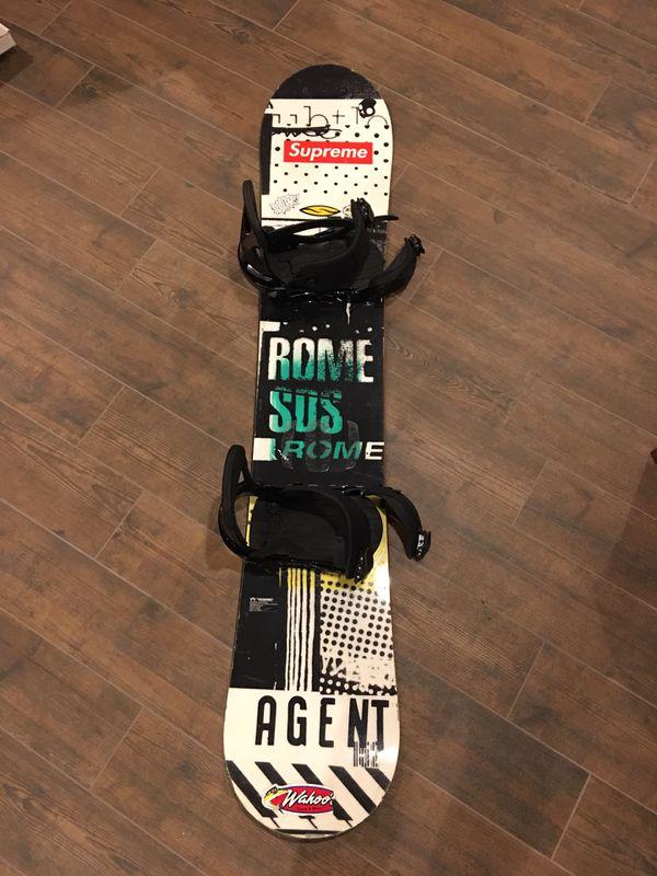 Rome SOS snowboard+burton custom bindings and Giro helmet