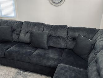 Dark Grey Suede Sectional Couch for Sale in Philadelphia,  PA