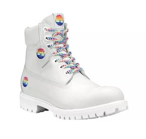 "Timberland 6"" premium White leather boot Rainbow Size 10 for Sale in Trenton, NJ"