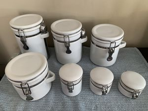 Ceramic kitchen canisters set jars with measuring spoon for Sale in West Springfield, VA