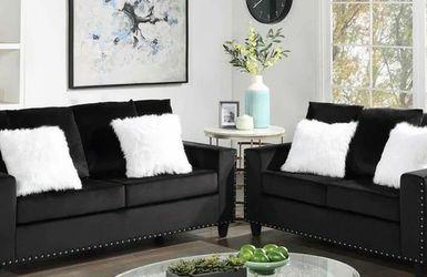 Cinderella Velvet Sofa and Loveseat Black VENDOR HAPPY HOMES for Sale in Houston,  TX