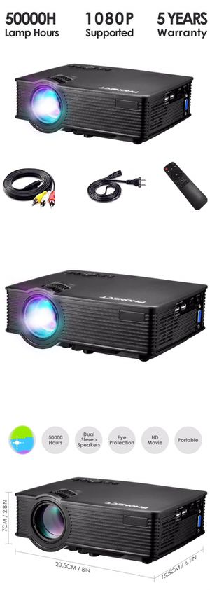 """Mini Projector, LUX Video Projector, Full HD 1080P and Up to 180"""" Display, Portable Projector Movie with 50,000 Hrs LED Lamp Life, Work with Fire TV for Sale in Temple City, CA"""