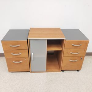 OFFICE FURNITURE SET, (2) ROLLING PEDESTAL FILE CABINET & STORAGE CABINET for Sale in Irvine, CA
