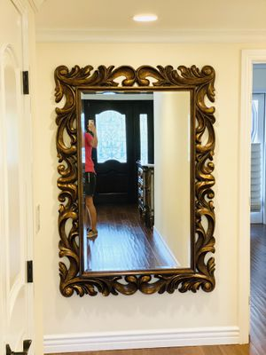 🐿Bronze ELEGANT Ornate WooD FRench NoRmanDY BIg Wall MIRRor for Sale in Glendale, CA