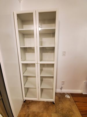 Ikea billy bookcase oxberg doors white for Sale in Los Angeles, CA