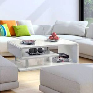 White Geometric High Gloss Coffee Table for Sale in San Francisco, CA