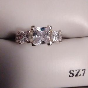Sz 71/2 , Diamond Quality White Topaz Engagement Ring 925 Sterling. for Sale in Lombard, IL