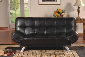 Brand New Black Faux Leather Futon Sofa Bed w/Adjustable Arms for Sale in Silver Spring, MD