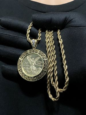 Rope style PVD GOLD PLATED 5mm necklace 30inches in length with a Centenario Charm for Sale in Orlando, FL