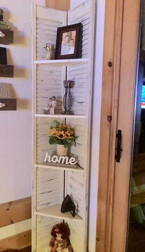 "Distressed Ivory 72""x 12"" Bi-Fold Louver Door Corner Shelf for Sale in Brevard, NC"