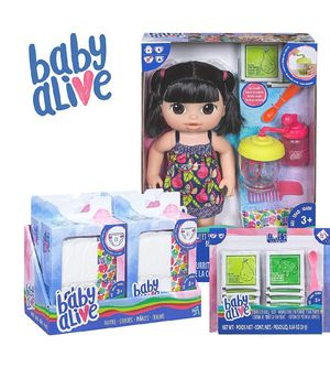Baby Alive Sweet Spoonfuls Baby Black Straight Hair Doll, Bundle Exclusive, Doll Food and Diaper Refill for Sale for sale  Hacienda Heights, CA