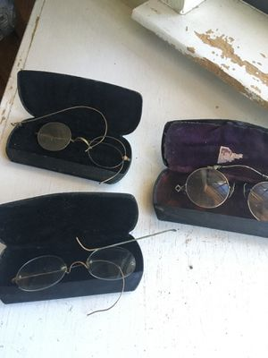 Antique eye glasses with metal cases for Sale in Dallas, TX