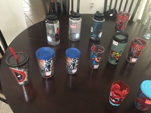 Marvel water bottles and tumblers. Different sizes and prices. for Sale in Kissimmee, FL