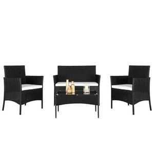 SHIPPING ONLY 4 Piece Patio Furniture Set for Outdoor Areas w/Cushions Table and Chairs Black for Sale in Las Vegas, NV