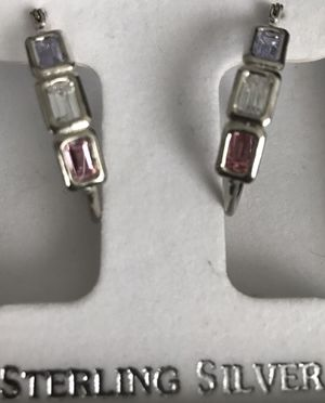 Multi-gem large beautiful sterling silver hoops! for Sale in Silver Spring, MD