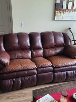 Brown Leather Reclining Couch 7ft x 3.5ft for Sale in Denver,  CO