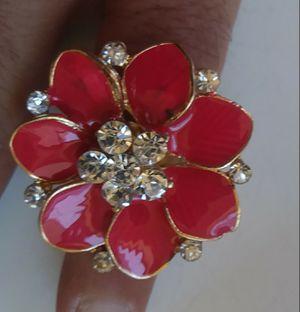 Huge pink floral bling adjustable ring nice!! for Sale in Hollister, CA