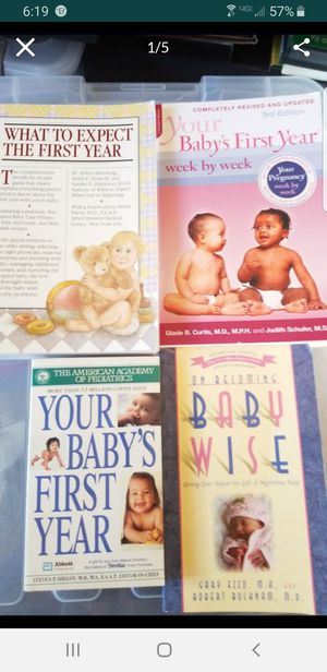 4 Paperback Baby/Infant Care Books: What to Expect the 1st Yr./Your Baby's 1st Yr./Your Baby's 1st Yr. Week by Week/On Becoming Baby Wise for Sale in Laveen Village, AZ