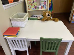 Pottery barn child's wooden table and 4 chairs for Sale in Evesham Township, NJ