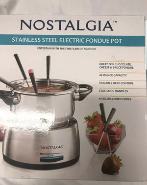Nostalgia FPS200 6-Cup Stainless Steel Electric Fondue Pot for Sale in San Diego, CA