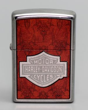 NEW IN BOX #28266 2007 ZIPPO LIGHTER HARLEY-DAVIDSON POLISH CHROME ORANGE SKULL SKETCHING for Sale in Bloomingdale, IL