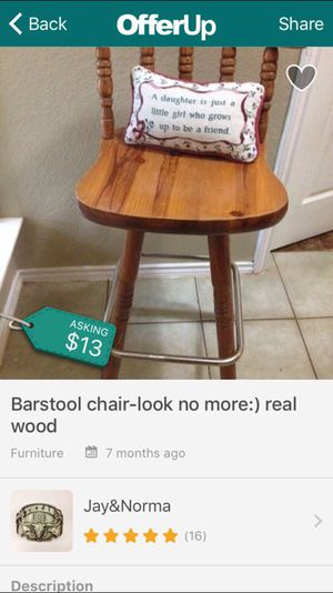 Bar stool - real wood for Sale in San Marcos, TX