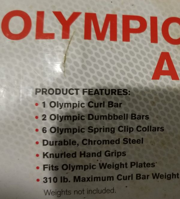 Wieder Olympic curling bar and dumbbell weight lifting set