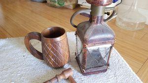 Wooden Mug & Antique Whisky Bottle for Sale in Irvine, CA