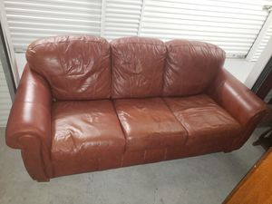 Leather couch with full futon fold out mattress. for Sale in Kemah, TX