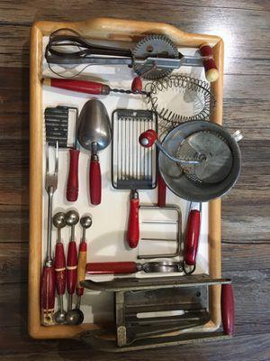 Vintage Red Handle Kitchen Utensils 13 pcs for Sale in Hayward, CA