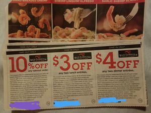 Clipping Service: 4 Red Lobster Coupon Strips for Sale in Williamsport, PA