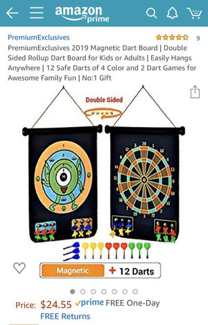 Magnetic Dart Board/Double Sided Rollup Dart Board for Kids or Adults/Easily Hangs Anywhere/12 Safe Darts of 4 Color & 2 Dart Games for Family Fun! for Sale in Miami, FL