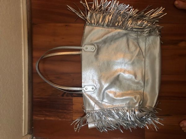 SAKS FIFTH AVENUE SILVER LEATHER FRINGED LEATHER BAG