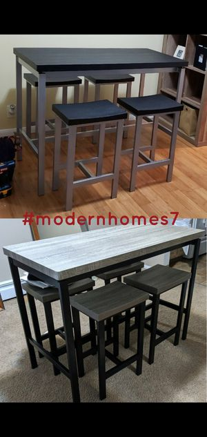 Black or Grey finish breakfast nook counter height dining set with 4 stools for Sale in Lawndale, CA
