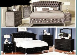 BIGSALE gray or black tufted bed frame headboard footboard frame rails available king queen full size for Sale in Jacksonville, FL
