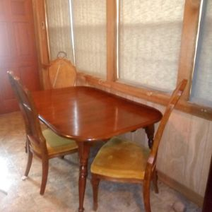 1940 solid wood table and three French expensive chairs for Sale in North Little Rock, AR